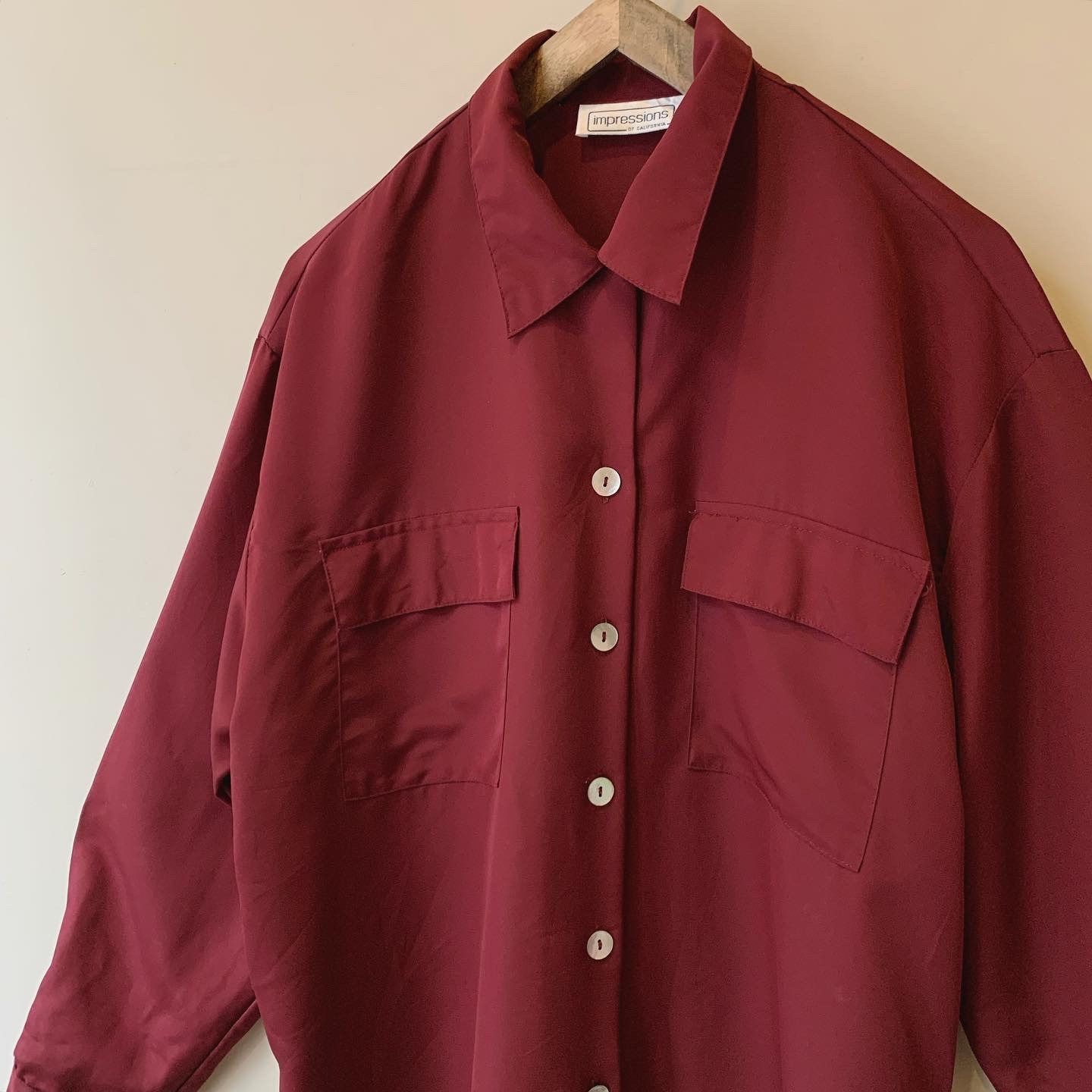 vintage open collar shell button shirts