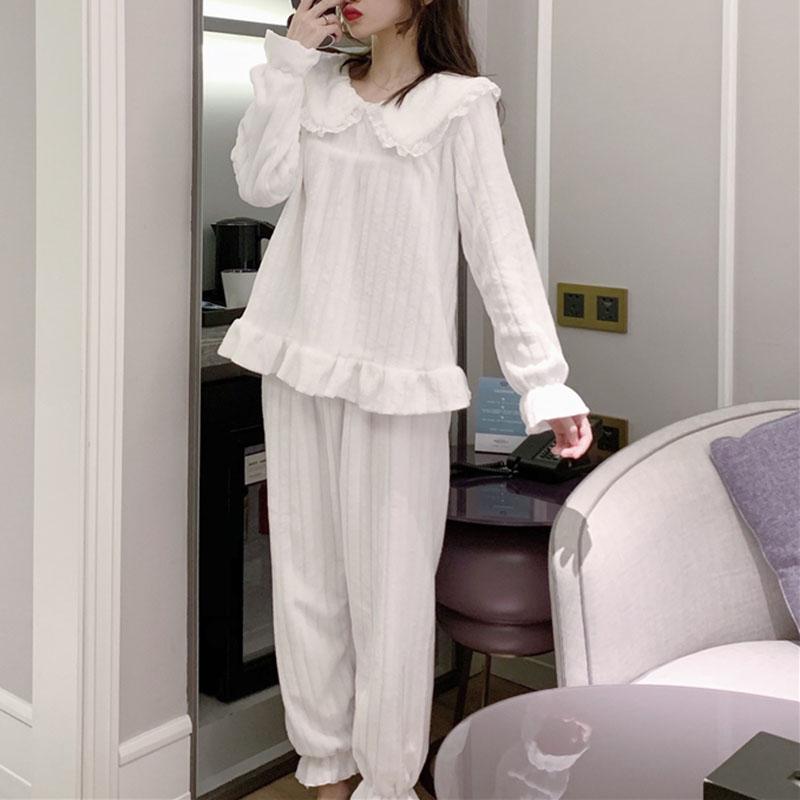 【パジャマ】切り替え無地ギャザー飾り長袖プルオーバーパジャマ25481307