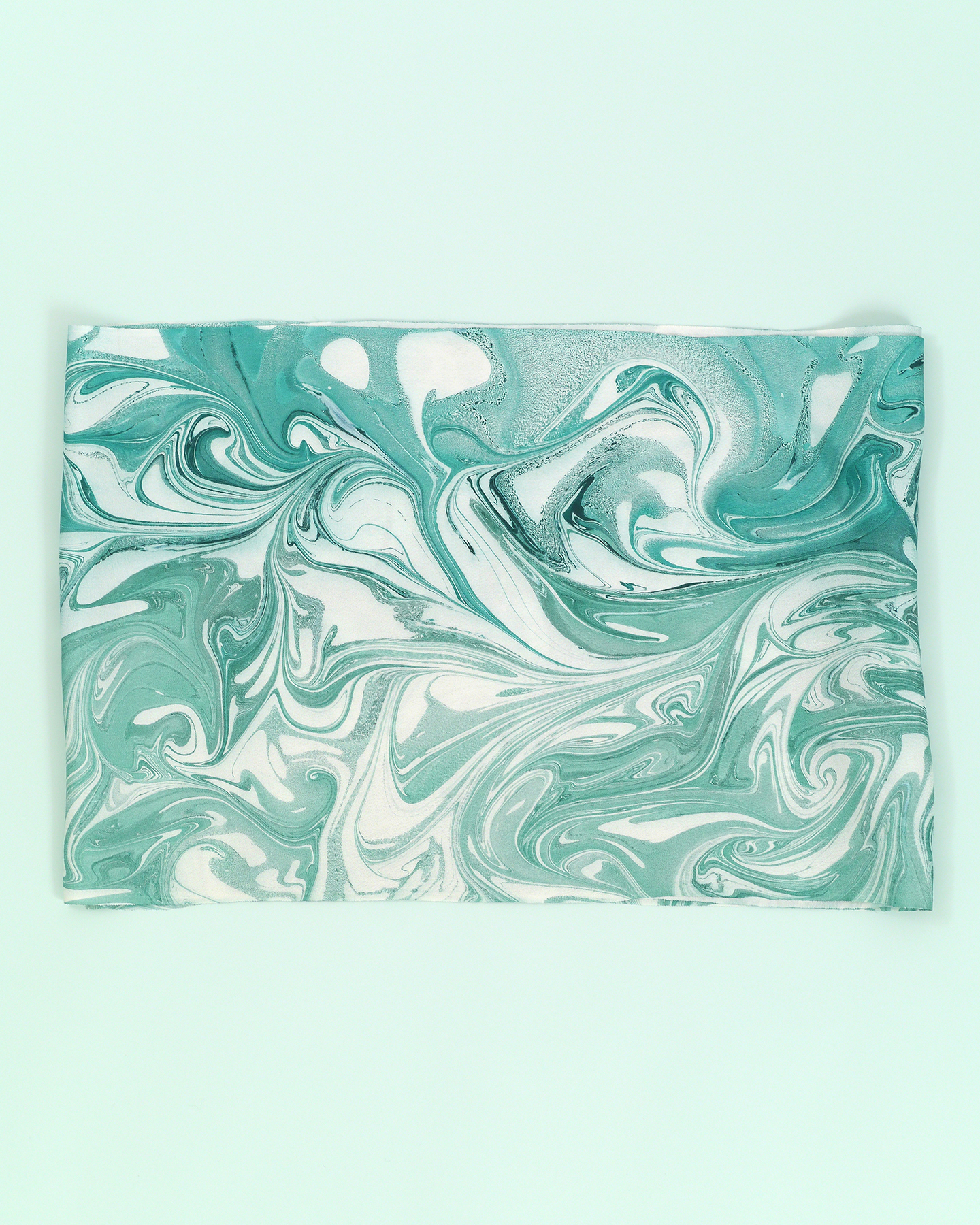 墨流し帯揚げ/マーブル/青緑×浅緑