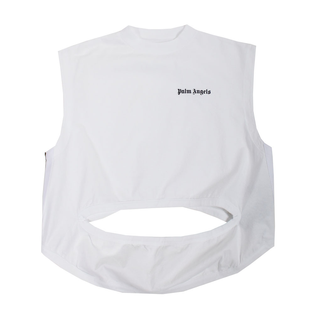 PALM ANGELS Logo Cut out Tee White