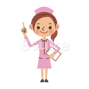 イラスト素材:バインダーを持って指差しをする看護師/ナース(ベクター・JPG)