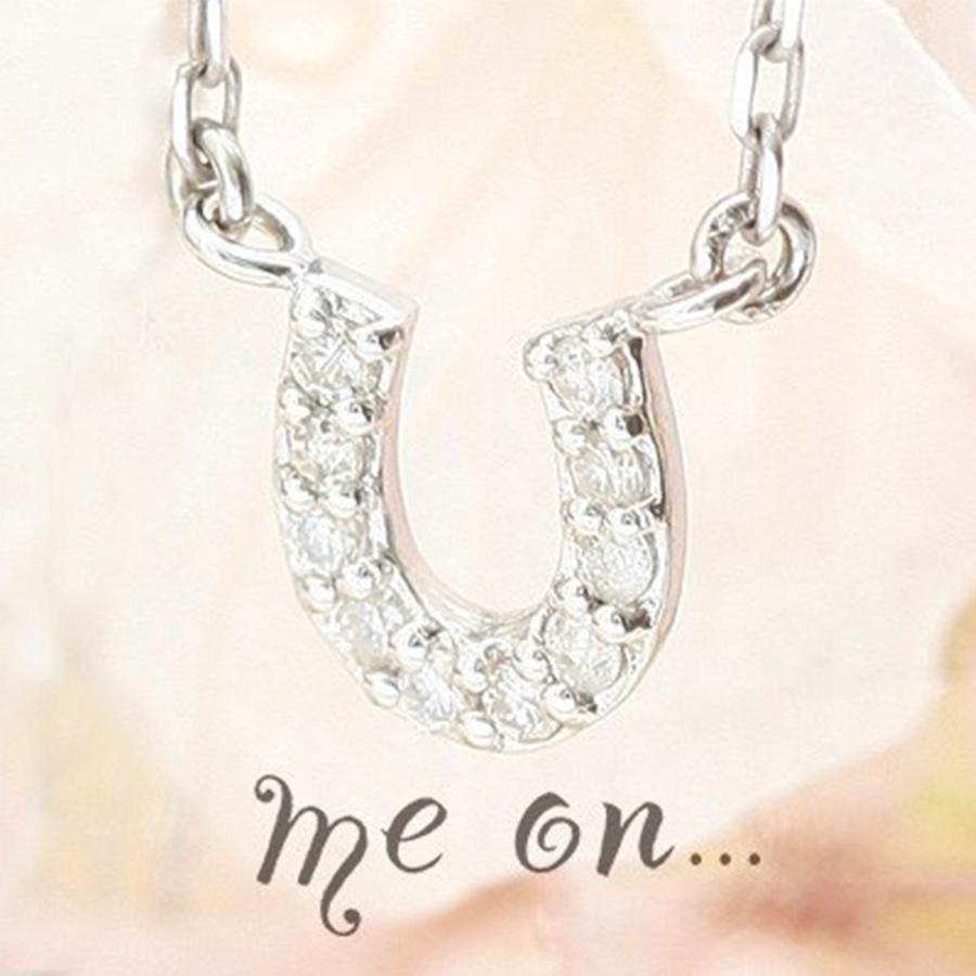★送料無料★【me on...】◆K10ゴールドダイヤモンド◆幸運を呼ぶ ホースシューネックレス(専用ケース付属)