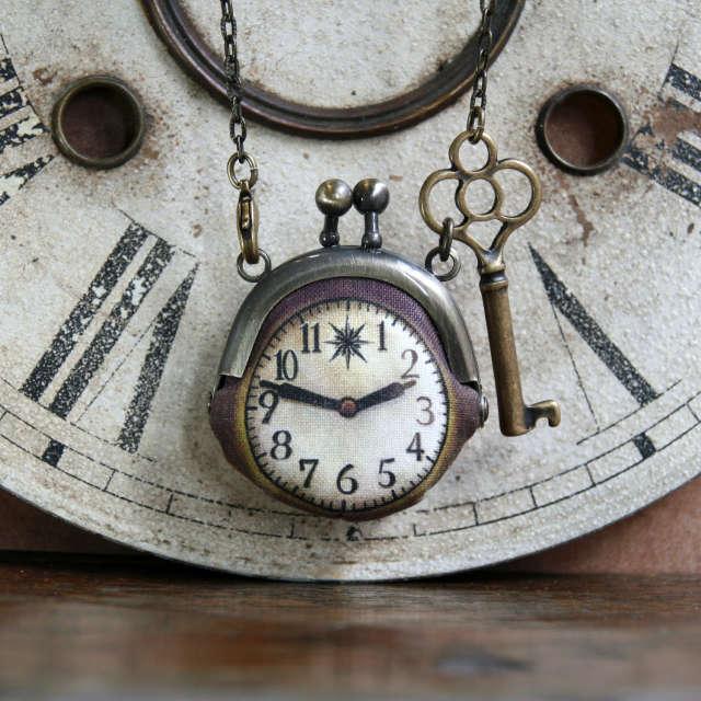 【即納】時計がま口ミニ 鍵のネックレス - 金星灯百貨店