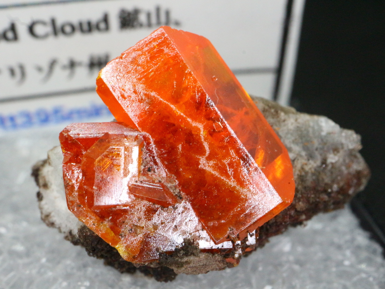 アリゾナ産 モリブデン鉛鉱 Wulfenite ケース入り WF006 天然石 鉱物 標本 原石