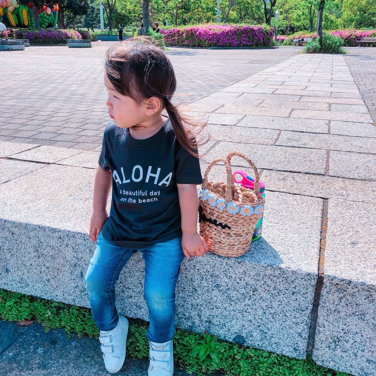 ★Kids★ ALOHA Tee - Ink black