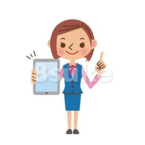 イラスト素材:タブレット端末を持つ事務職の女性(ベクター・JPG)
