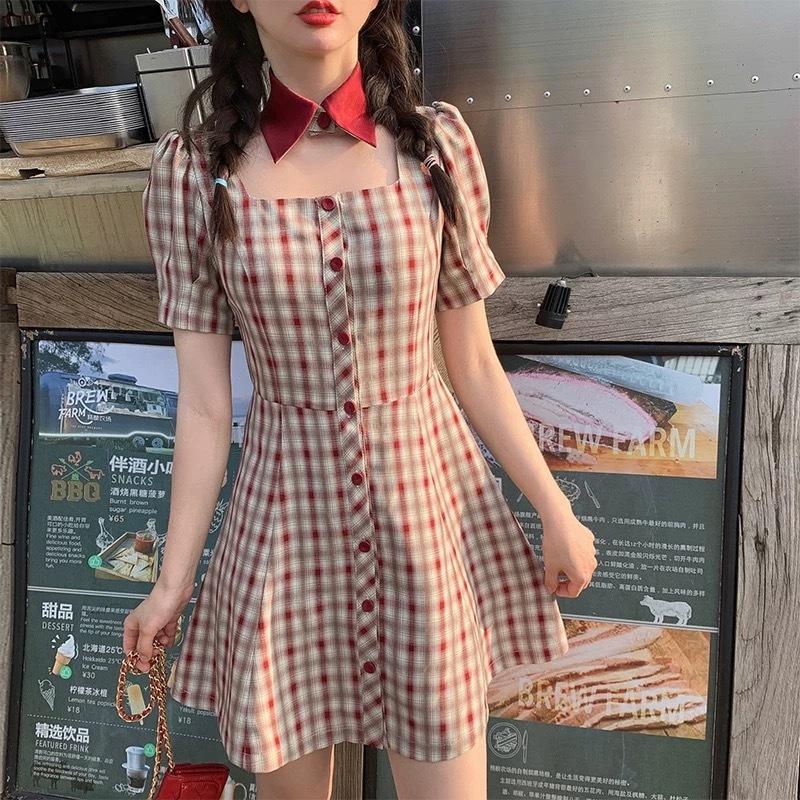 chorker collar check dress