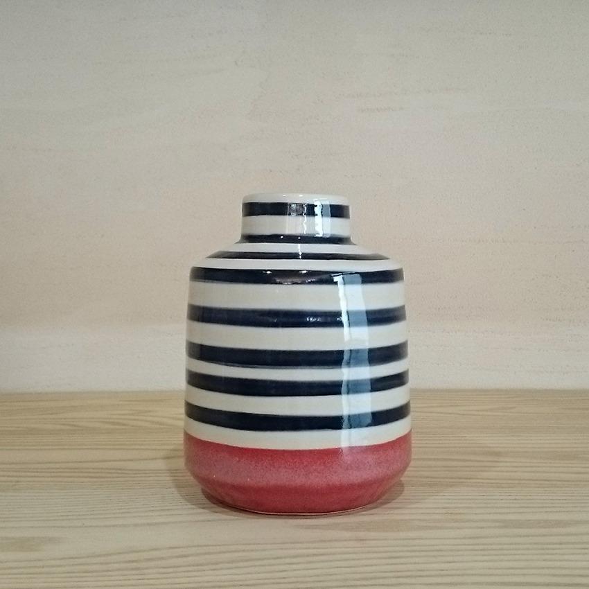 陶器  ウェル ピンクボーダー