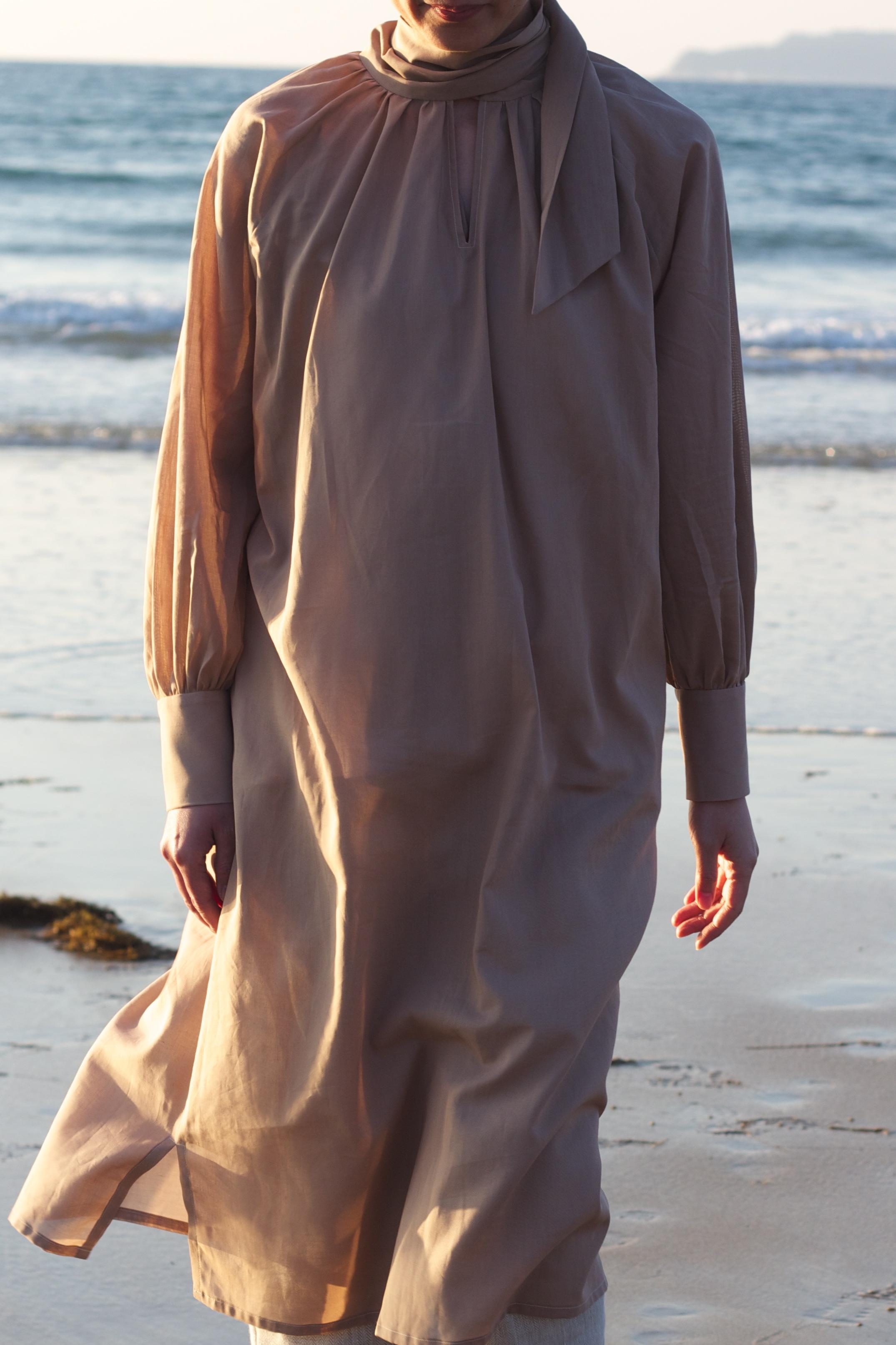 Cotton loan dress (Beige)  ボウカラーローンドレス