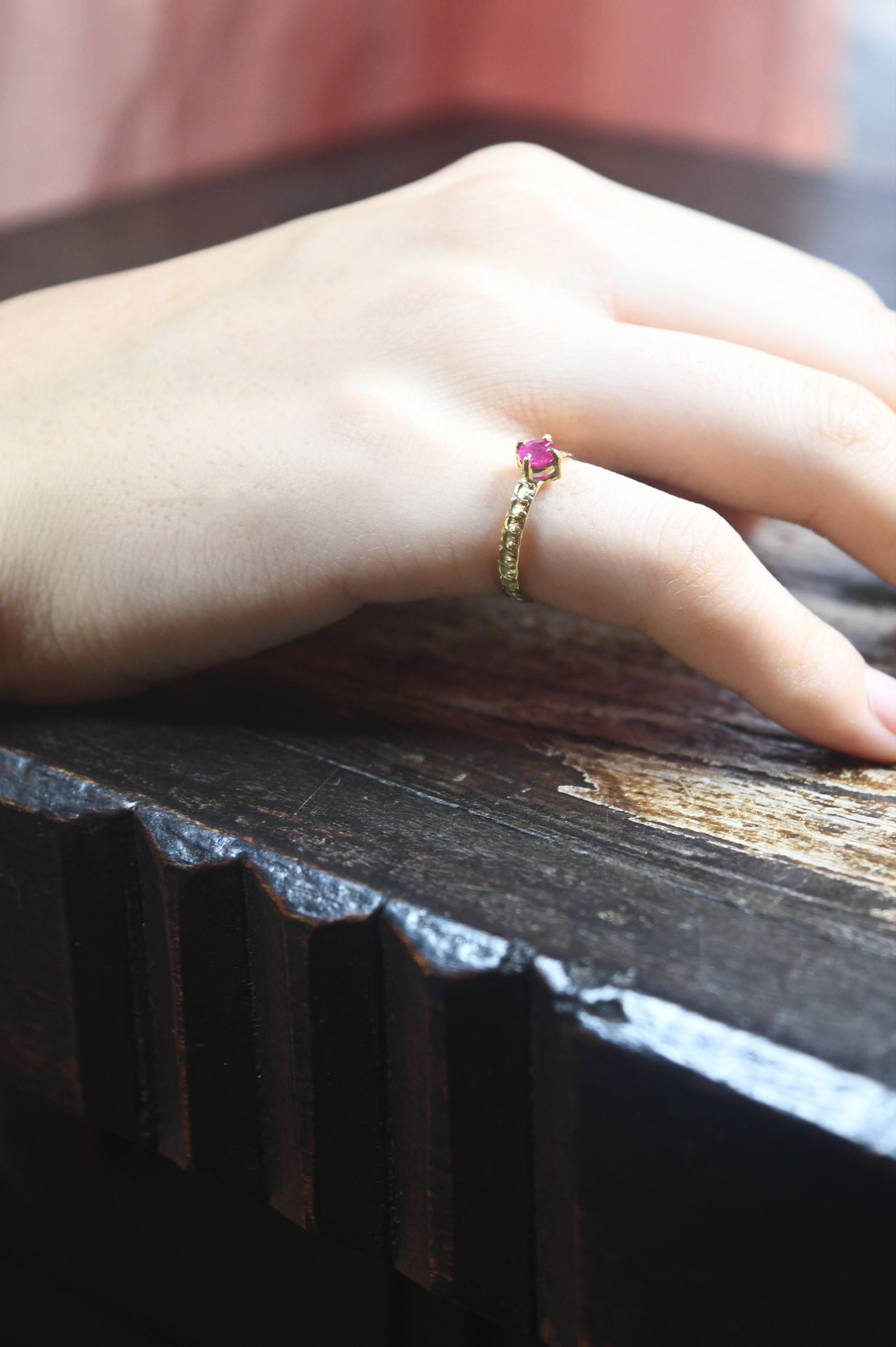 K18 Ruby Design Ring 18金ミャンマー産ルビーデザインリング(レース)