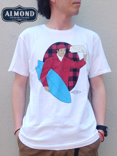 ALMOND SURFBOARDS&DESIGN × WOOLRICH(アーモンドサーフボードデザイン × ウールリッチ) WOOLRICH MAN T-SHIRTS White(ホワイト)