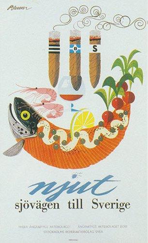 レトロポスター 50x70 「サーモン・ボート」1957年