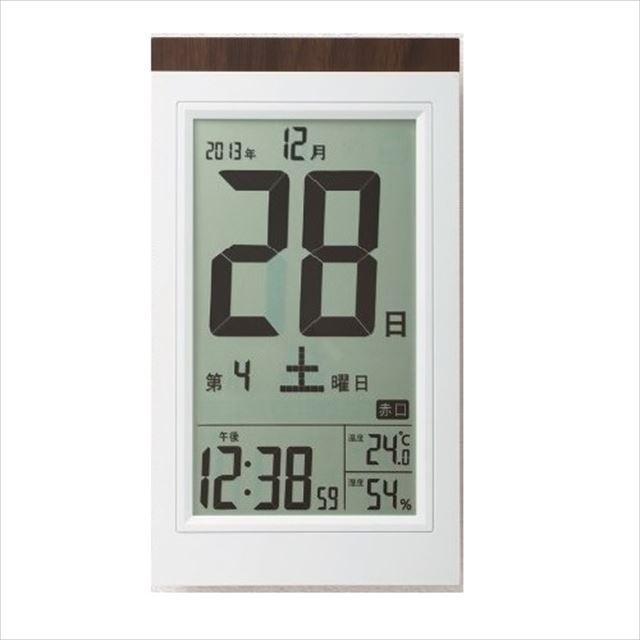 デジタルクロック 電波目覚まし時計 日めくり電波時計 デジタル表示 置き掛け兼用 ホワイト KW9254  アデッソ - 画像2