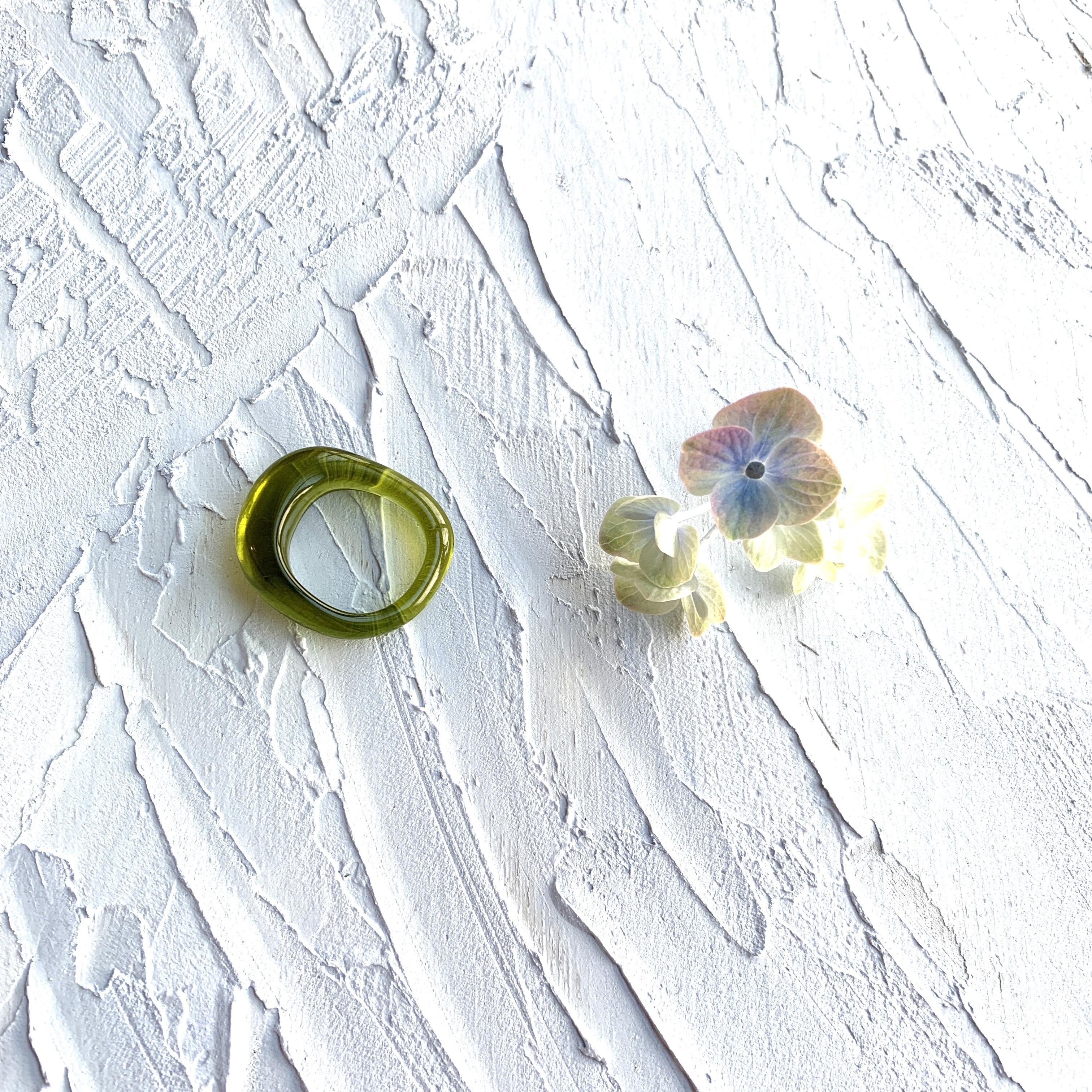 Oval clea Ring |オーバルクリアリング・モスグリーン|#sp0172 |【STELLAPARK】