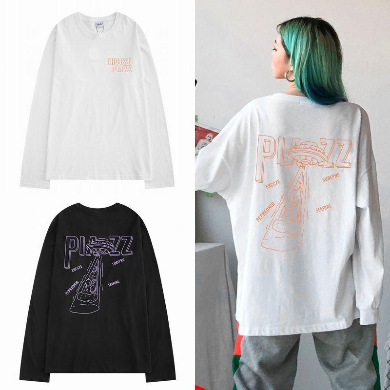 ユニセックス 長袖 Tシャツ メンズ レディース ピザ UFO バックプリント オーバーサイズ 大きいサイズ ストリート