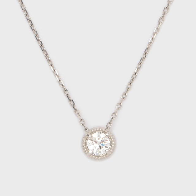 ENUOVE frutta Diamond Necklace Pt950(イノーヴェ フルッタ 0.25ct プラチナ950 ミルグレイン ダイヤモンドネックレス  スライトアジャスターチェーン)