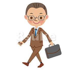 イラスト素材:歩く中年のビジネスマン(ベクター・JPG)