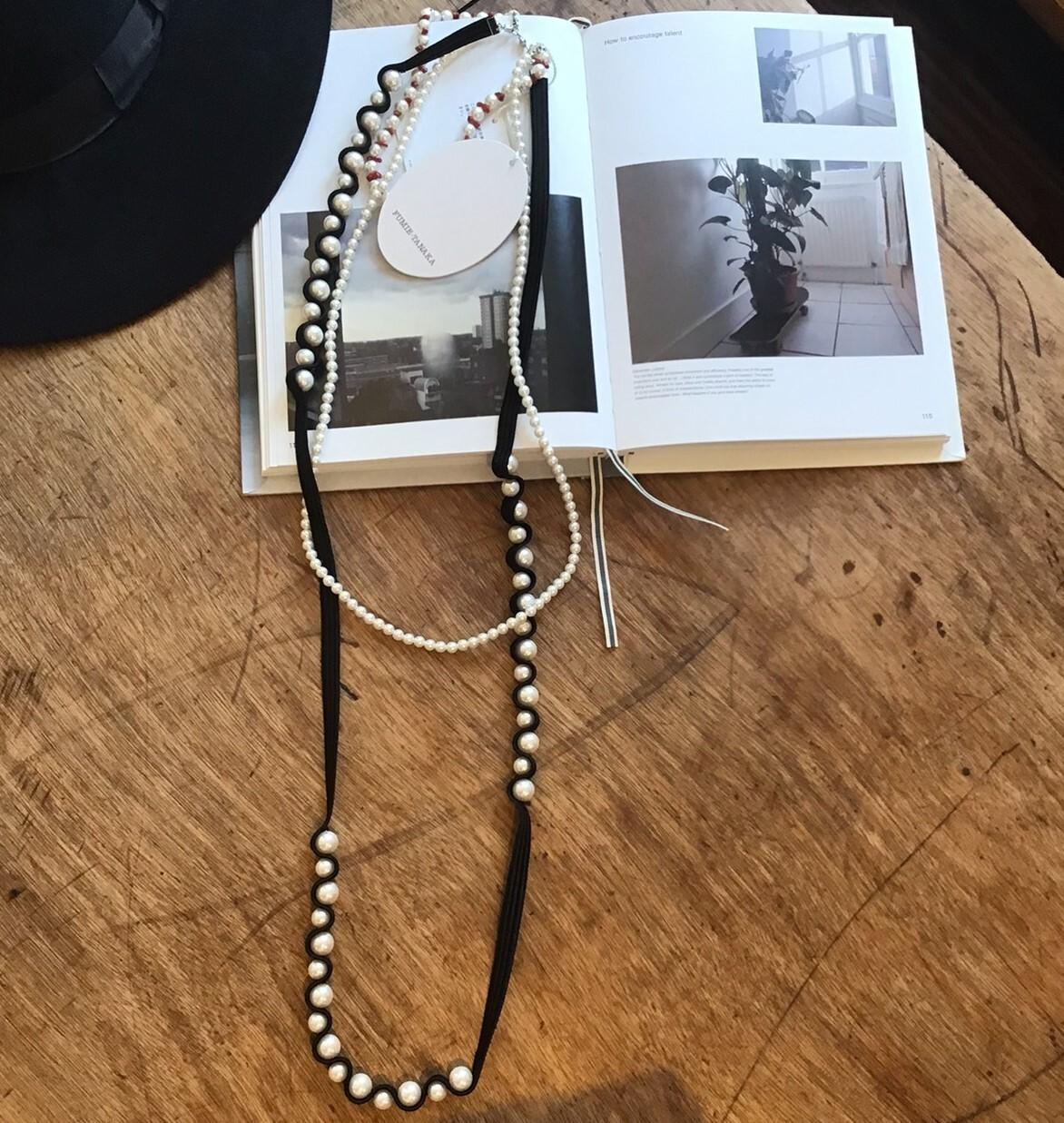 FUMIETANAKA pearl set necklace BLACK F20A-45