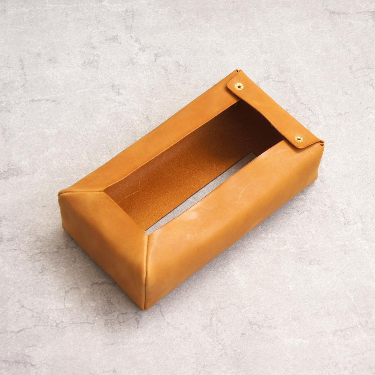 ふんわり柔らか革の箱ティッシュカバー【イエロー】