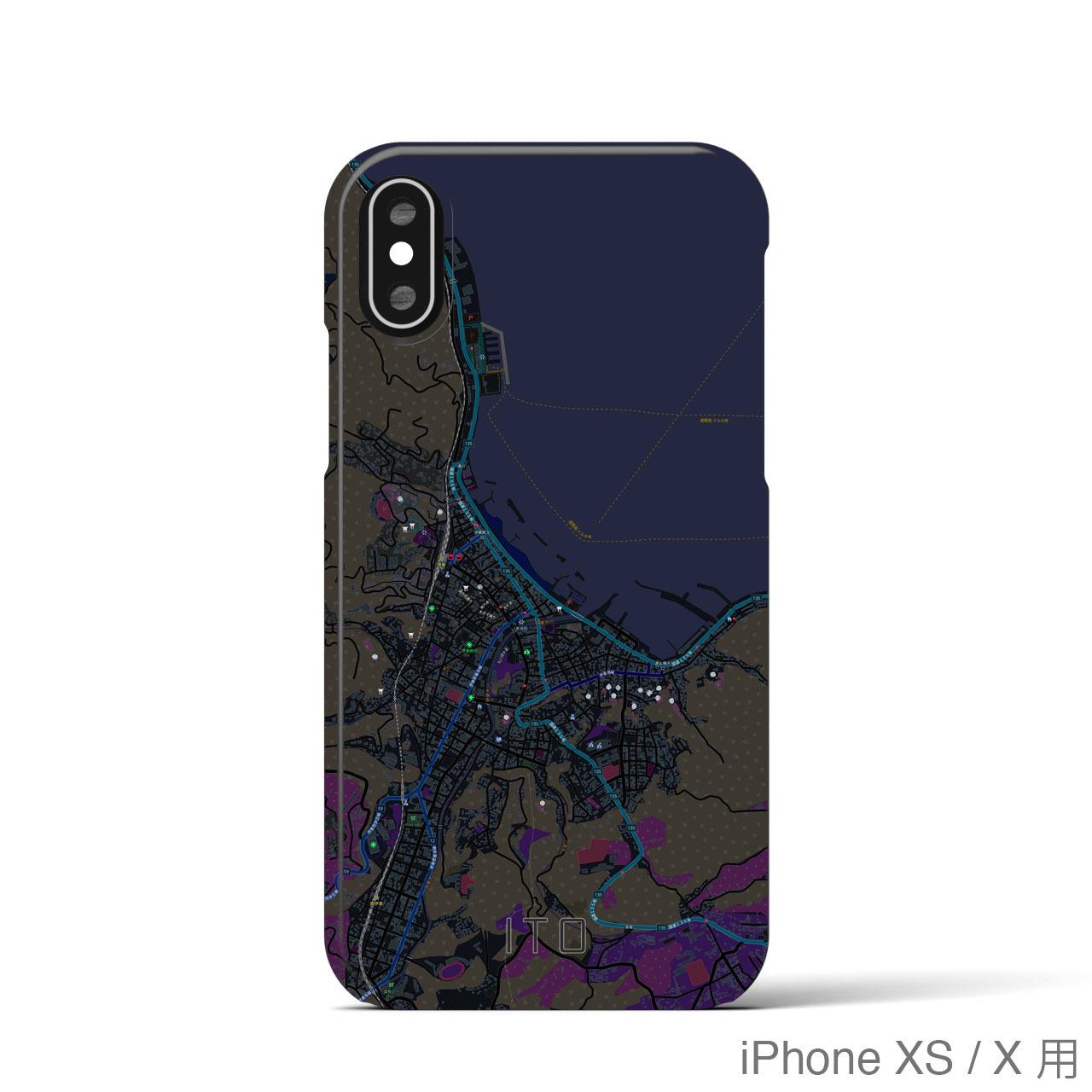 【伊東】地図柄iPhoneケース(バックカバータイプ・ブラック)