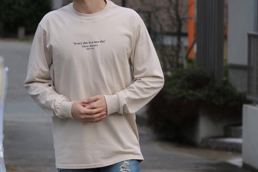 【2/12 21:00 販売開始】ThreeArrows Message L/S TEE(beige)