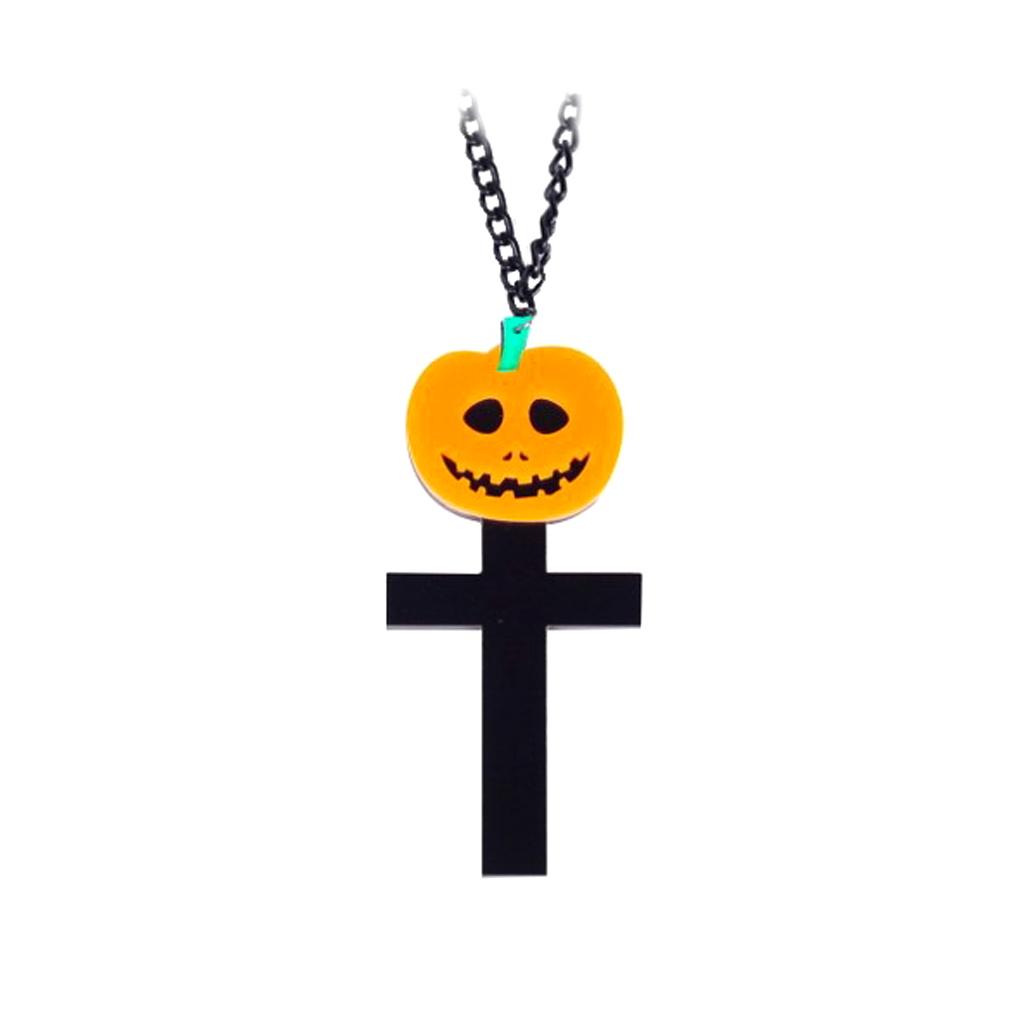 IUHA 【ユニークシリーズ】遊び心も、デザインも素晴らしい クロス かぼちゃん ネックレス  おしゃれ 個性的 パーティー ギフト ハロウィン   iuha199171001502