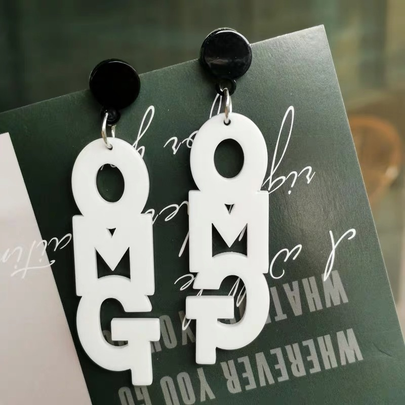 omg logo earrings