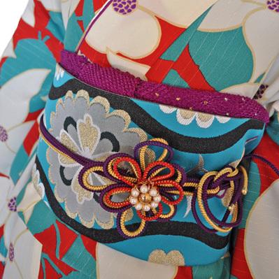 レンタル着物612-1「レンタルパーティーきもの」和風館青緑色と赤色に花柄【往復送料無料】 - 画像1