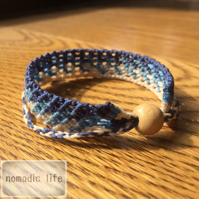 No.11//gradation bracelet_blue/グラデーションマクラメブレスレット