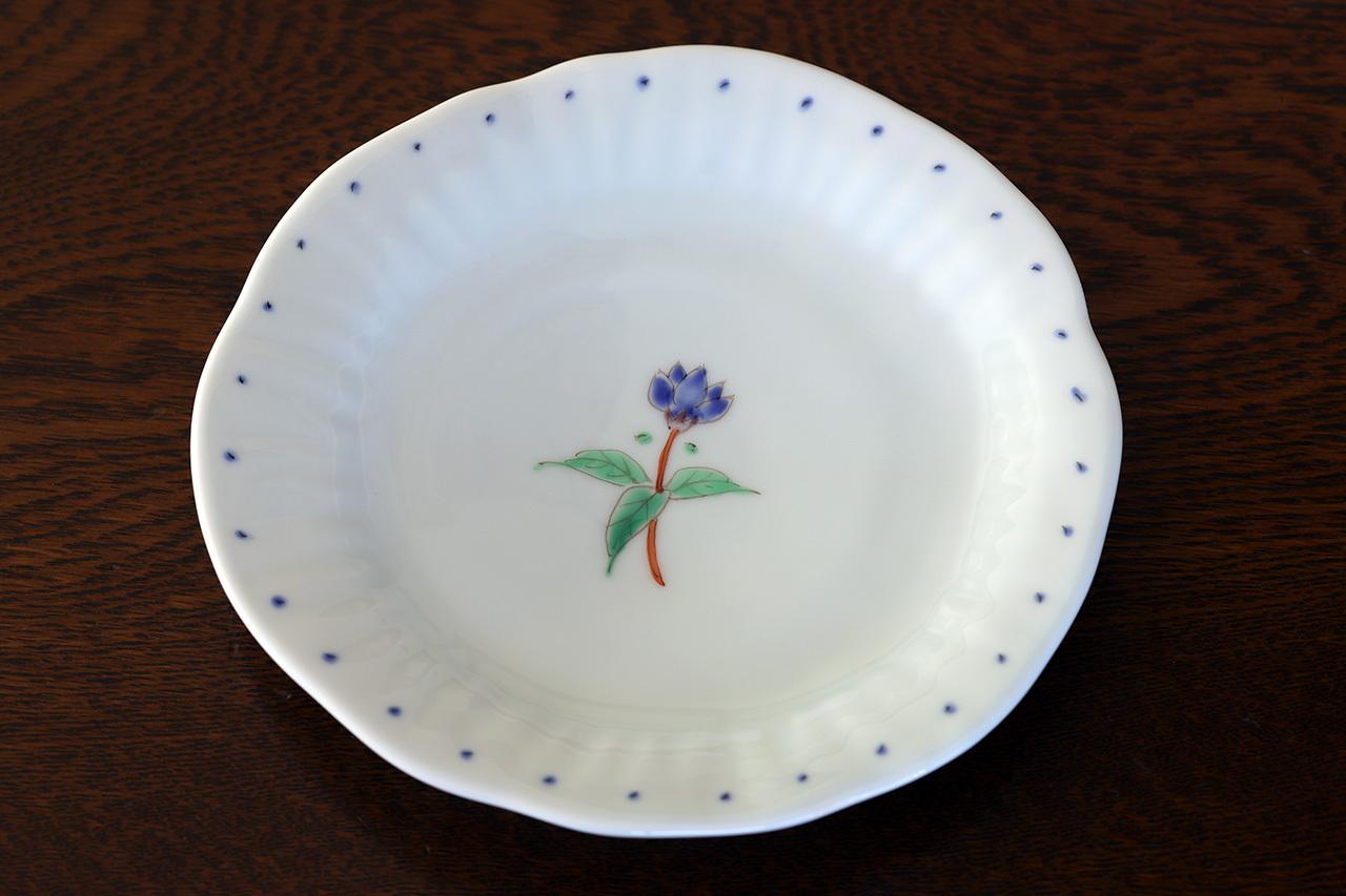 藍水 一つ花リンドウ 銘々皿 うつわ藍水(波佐見焼)