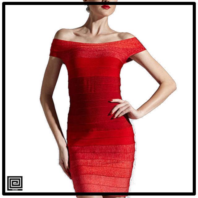 オフショルダーグラデーションバンテージドレス