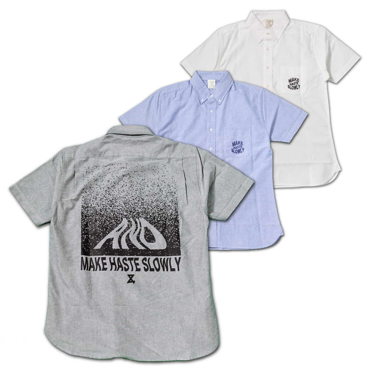 MAKE HASTE SLOWLY Short sleeve Oxford shirt