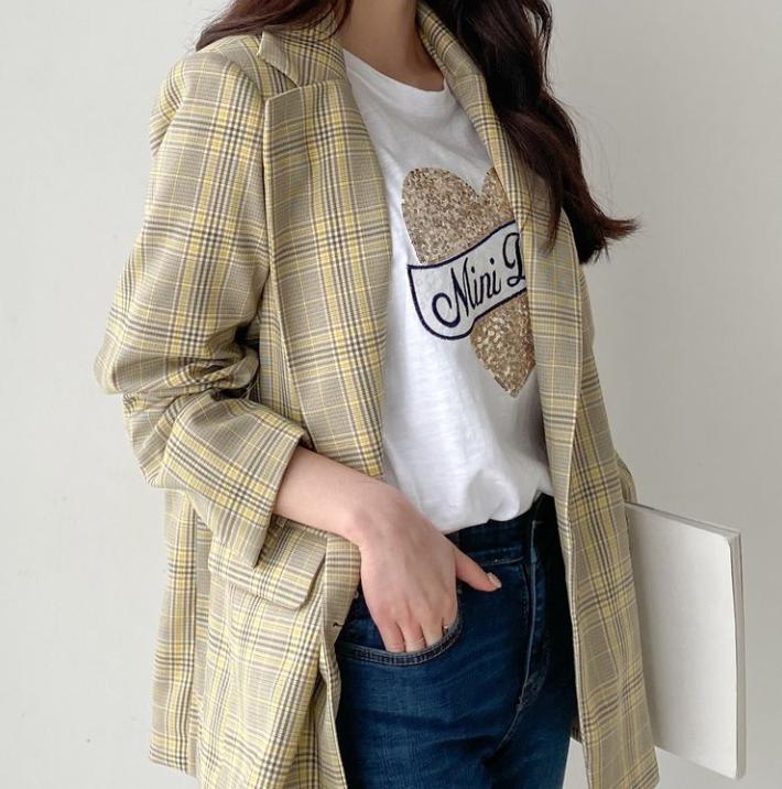 【送料無料】コーデのアクセントに ♡ カジュアル 大人可愛い 春色 チェック柄 テーラード ジャケット アウター
