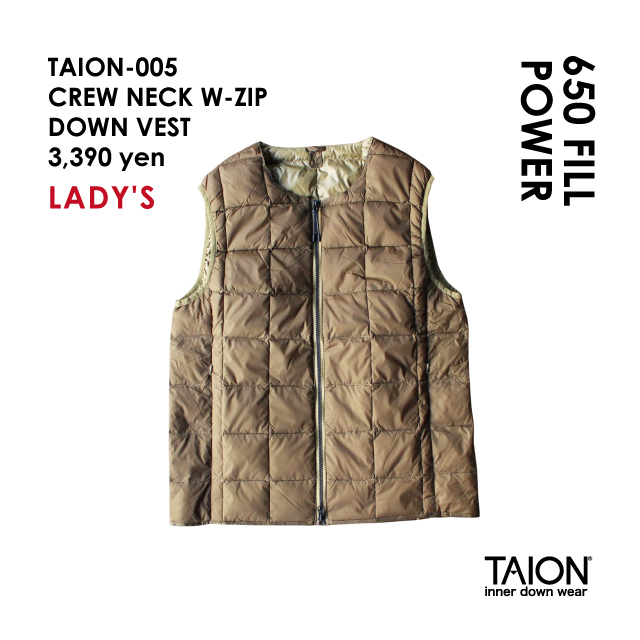 Free shipping NOW!! / Ladies' / TAION-005 CREW NECK W-ZIP DOWN VEST / Beige / 2018