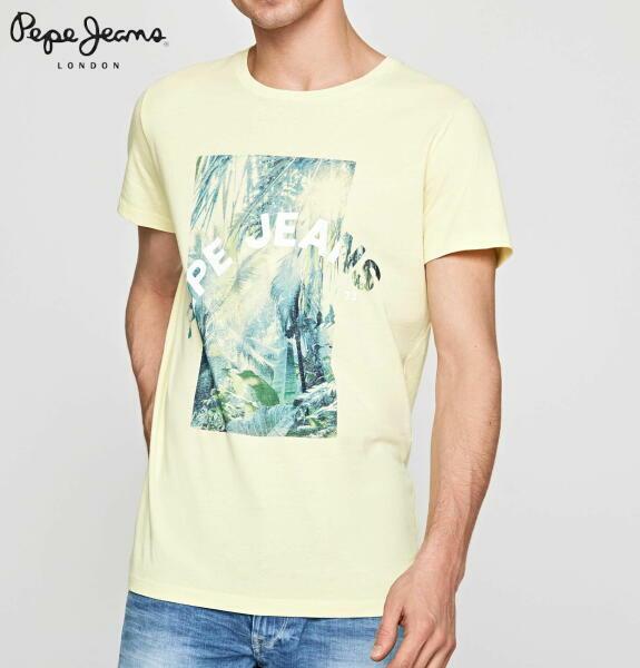 ペペジーンズ ロンドン メンズ トップス 半袖 プリント Tシャツ PEPE JEANS LONDON OWAIN LIME YELLOW【正規取扱店】