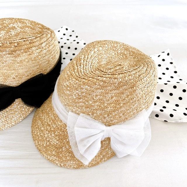 日避けスカーフ付き 麦わら帽子