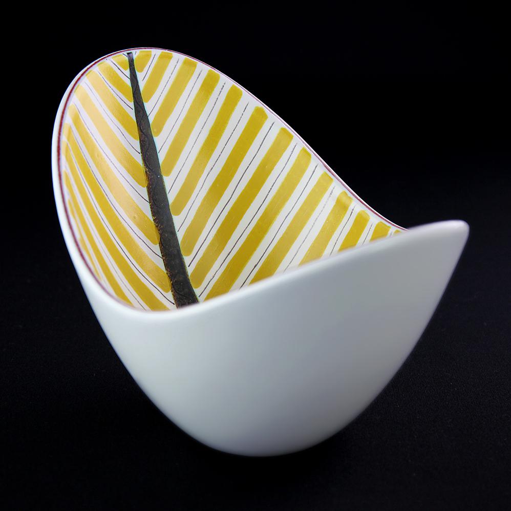 Gustavsberg  グスタフスベリ Fajans ファイアンス 深皿 花器 黄い葉 北欧ヴィンテージ