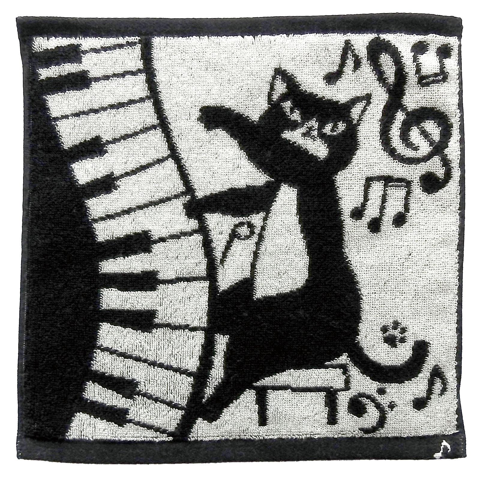 猫タオルハンカチ(今治タオルハンカチ)ネコ先生&音符