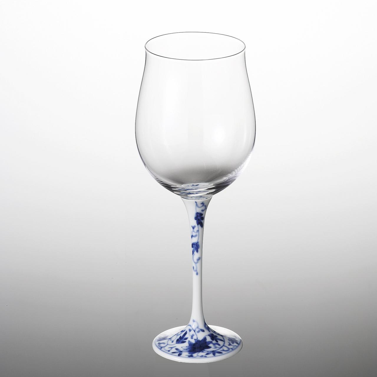 ハイレッグワイングラス(小) (染付華唐草) 20-007-B