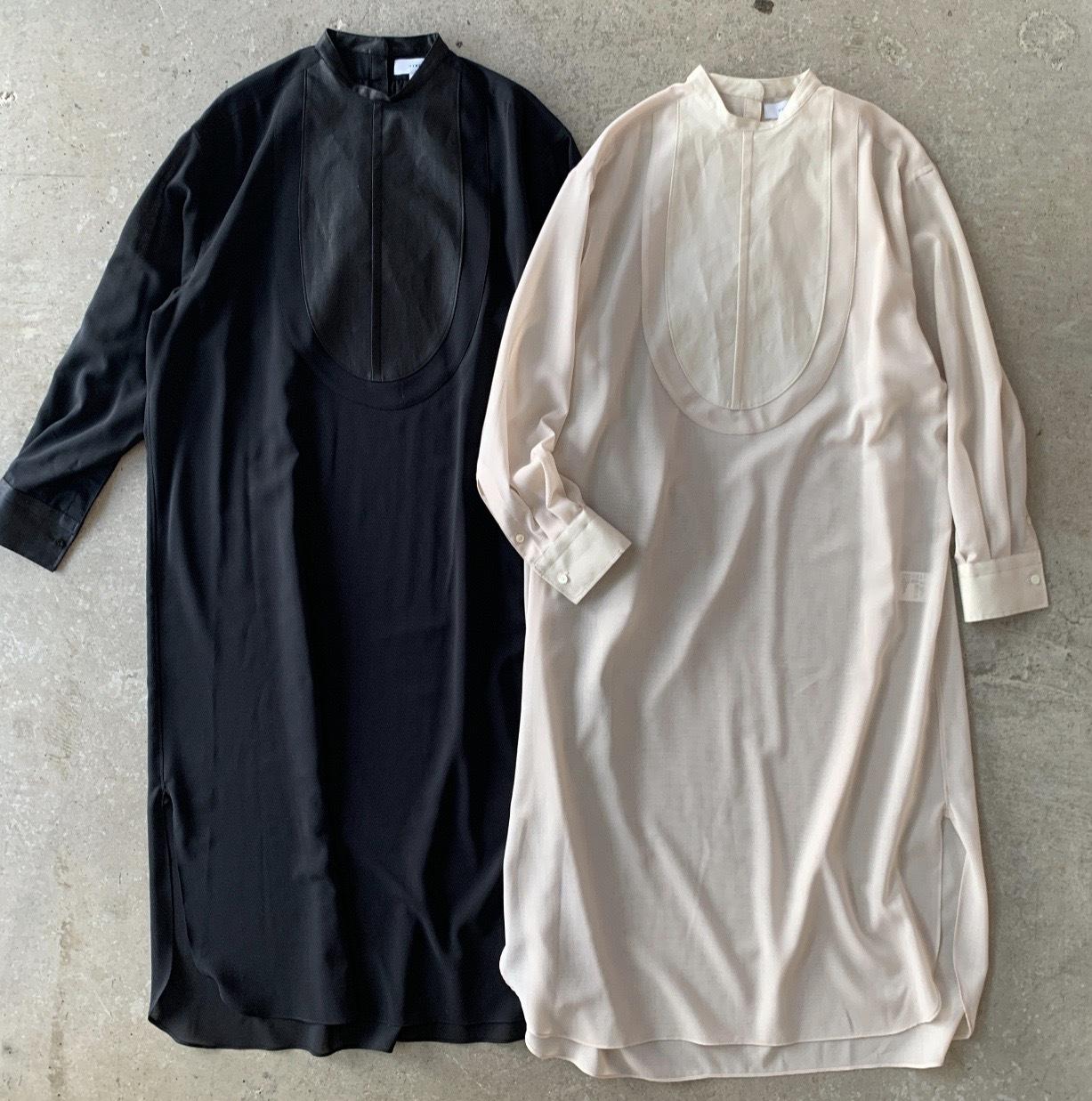 HYKE - LINEN BIB FRONT SHIRT DRESS