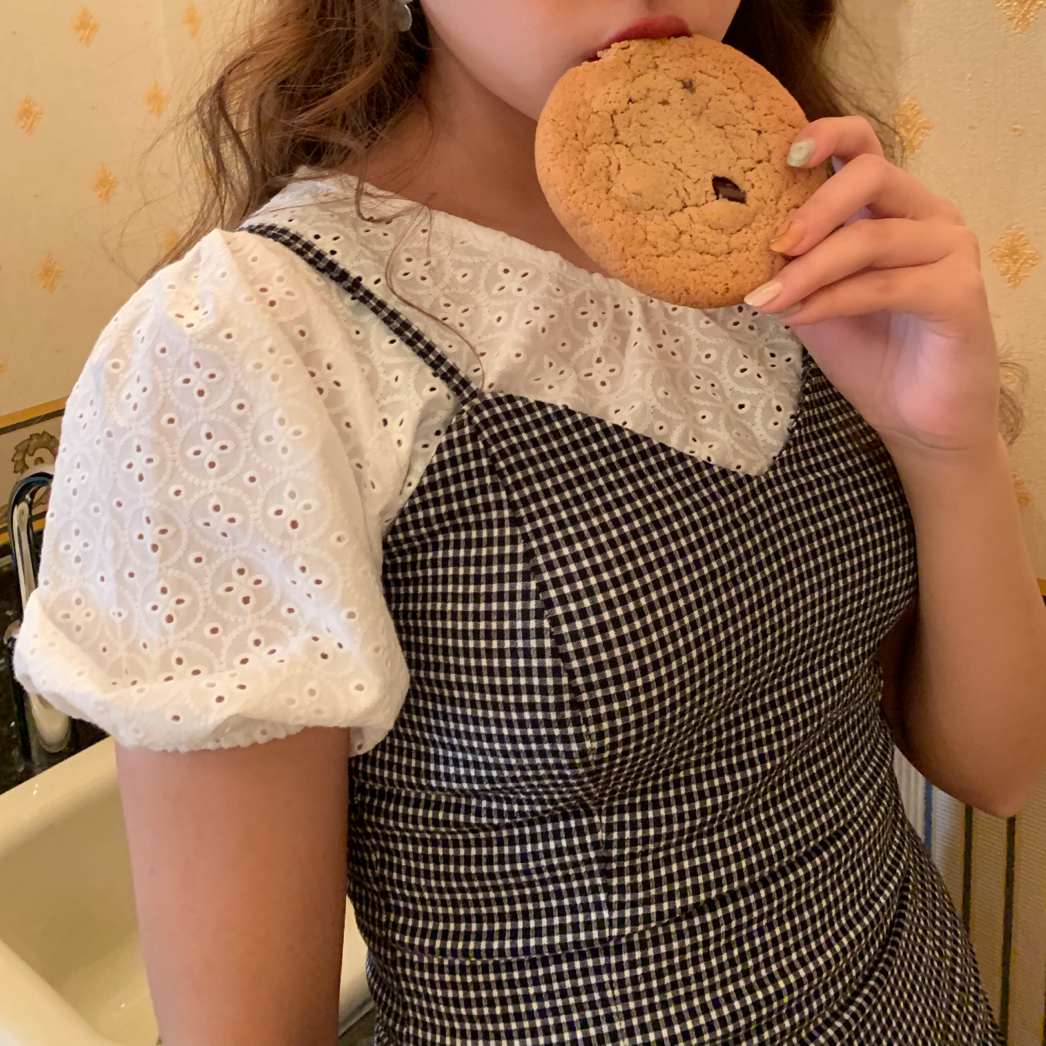 puff sleeve cotton blouse