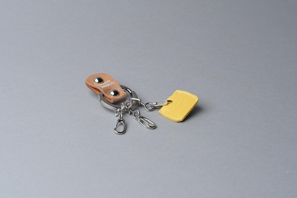 KEY RING・CAP ■ライトブラウンS・イエロー■_本革真鍮キーリング・キーキャップセット_ - 画像1