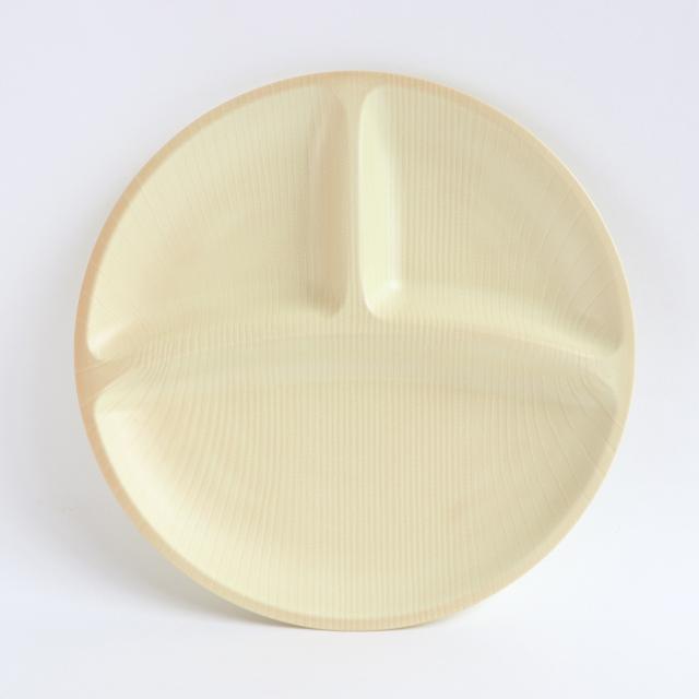 【DA-0389】メラミン樹脂製 25cm三ツ仕切プレート ナチュラル