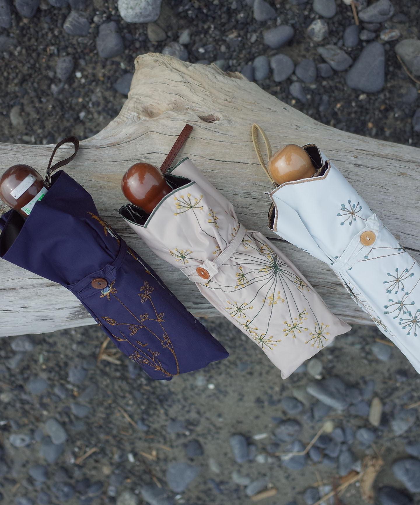 【フェンネル花刺繍】晴雨兼用日傘 (折りたたみ)(ELS48mini)