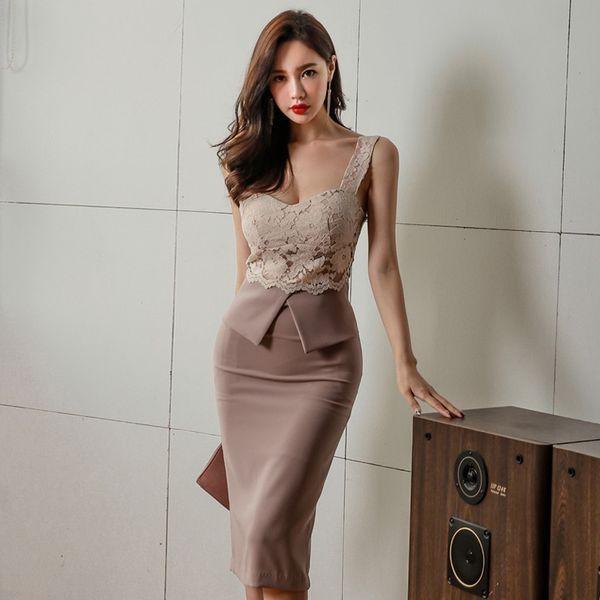 95a1014d47bdf ビスチェ風 レース ペプラム タイト ひざ丈 ワンピースドレス 結婚式 二次会 パーティー お呼ばれ きちんと きれいめ 大きいサイズ