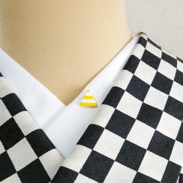 三角ボーダー半衿ピン【黄色】