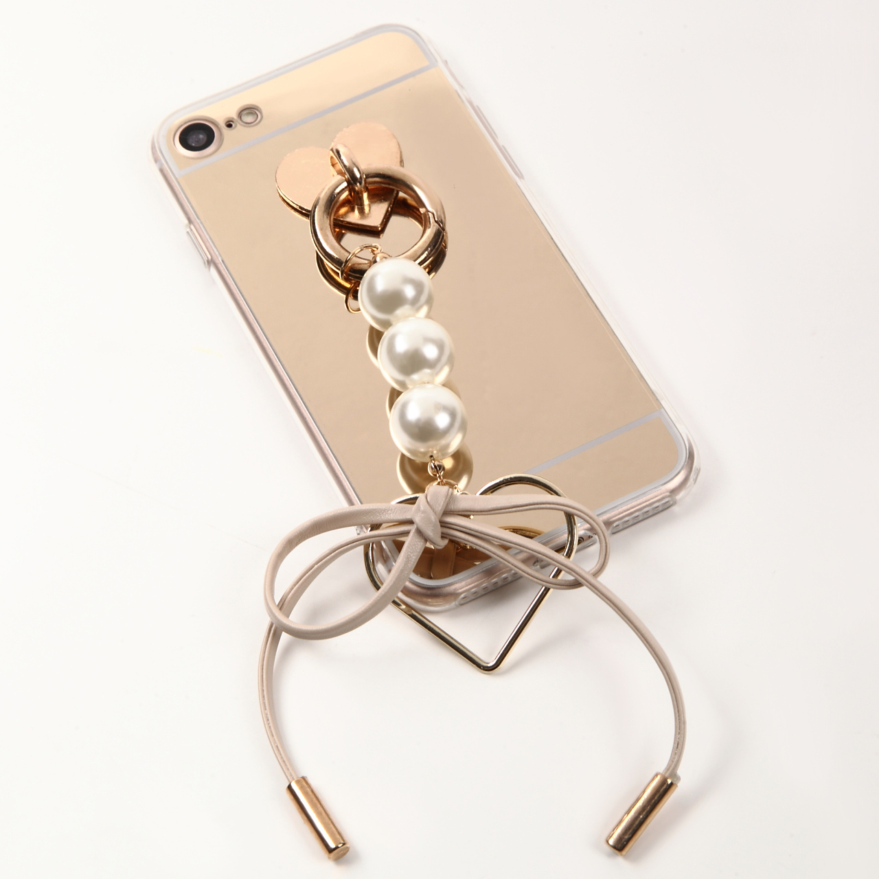 【即納★送料無料】ゴールドミラーソフトケースにかわいいパール&リボン付iPhoneケース