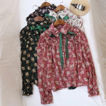 花柄 シャツブラウス フリル リボン 長袖トップス 華やか フラワー柄 コットンシャツ 4色展開 エレガント フェミニン 大人可愛い グリーン/ピンク/アプリコット/カーキ
