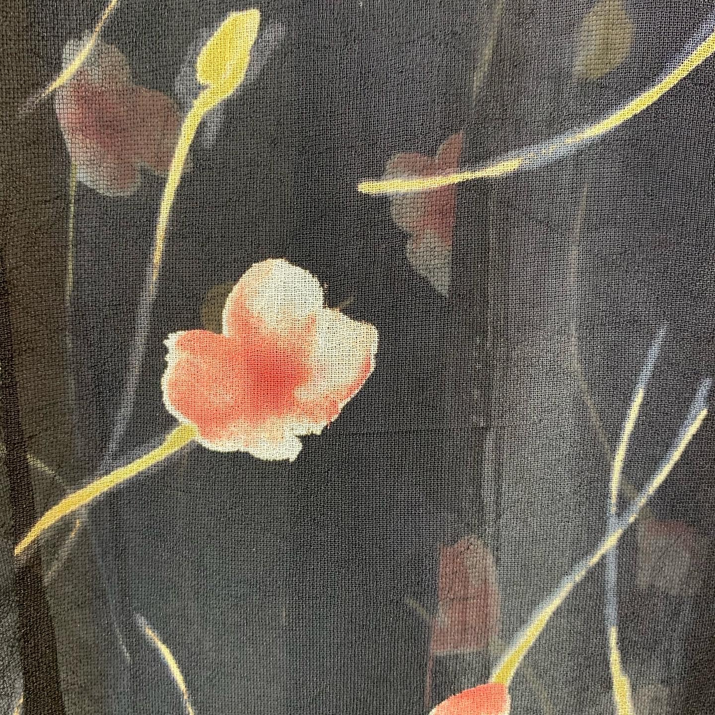 vintage flower design sheer tops