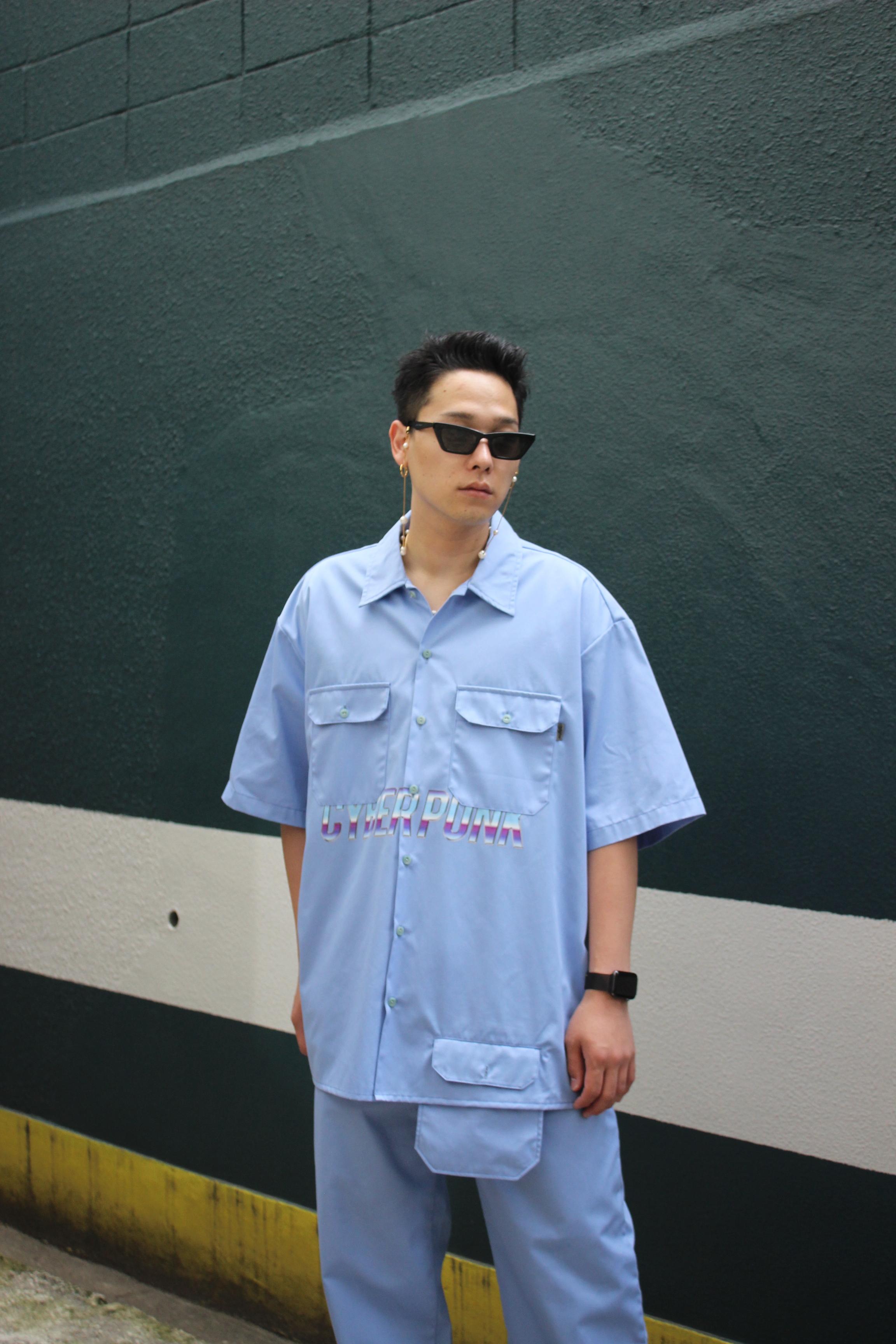 CYBER PUNK work shirt / BLUE - 画像4